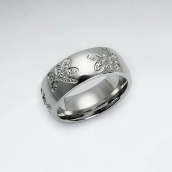 Stainless Steel Etched Dragonfly Textured Crystal Ring