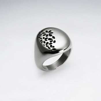 Stainless Steel Flower Imprint Textured Ring
