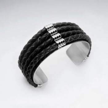 Stainless Steel Four Layer Split Leather Corded Bangle Bracelet