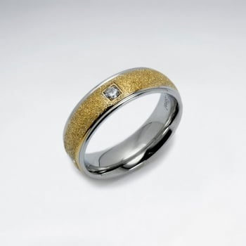 Stainless Steel Gold Tone Accent Crystal Fashion Ring