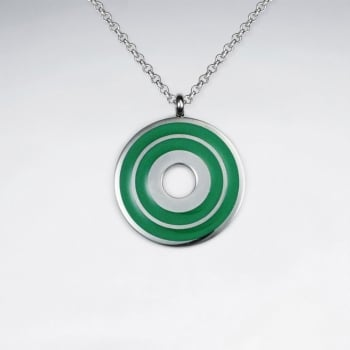 Stainless Steel Green Open Circle Target Pendant