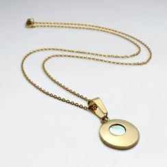 Stainless Steel Imitation Shell  Round Charm Necklace