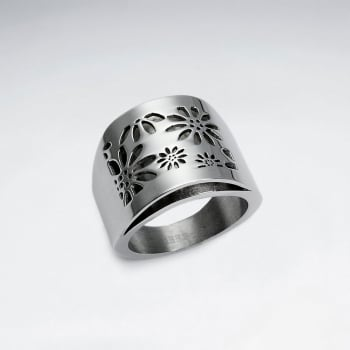 Stainless Steel Imprinted Flower Ring