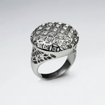 Stainless Steel Lattice Cut Crystal Woven Statement Ring