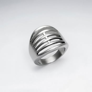 Stainless Steel Layered Lines Cutout Ring