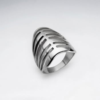 Stainless Steel Layered Split Statement Ring