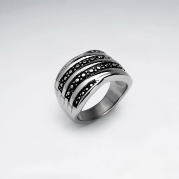 Stainless Steel Layered Texture Ring