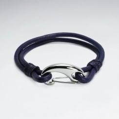 Stainless Steel Leather Clasp Claw Bracelet