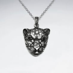 Stainless Steel Leopard Head Pendant