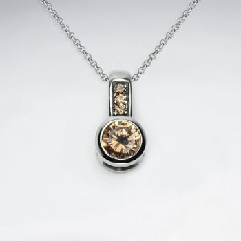 Stainless Steel Light Colorado Topaz Circle Drop Pendant