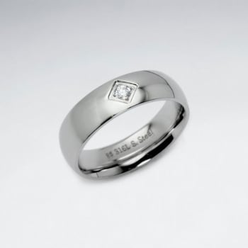 Stainless Steel Marquis Crystal Ring