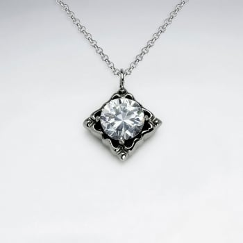 Stainless Steel Marquis Solitaire Crystal Pendant