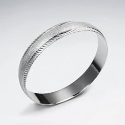 Stainless Steel Matte Print  Twist Edged Bangle