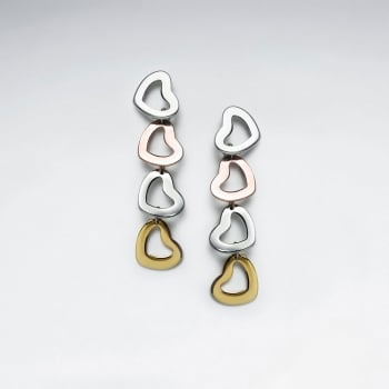 Stainless Steel Multi-Hued Open Hearts Cascade Drop Earrings