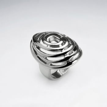 Stainless Steel Mystical Spiral Cutout Ring