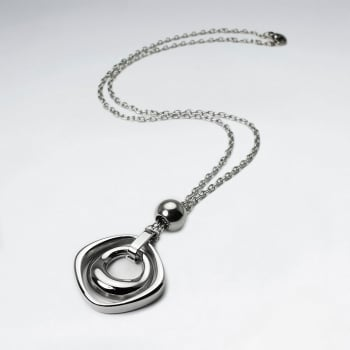 Stainless Steel Open Circle Chunky Pendant Necklace