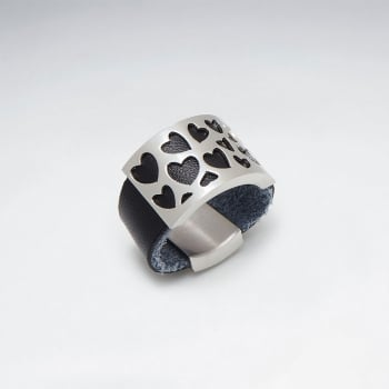 Stainless Steel Open Hearts Leather Ring