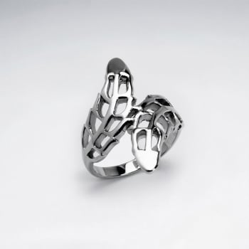 Stainless Steel Openwork Bypass Leaf Ring
