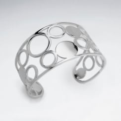 Stainless Steel Openwork Circle Cuff Bangle