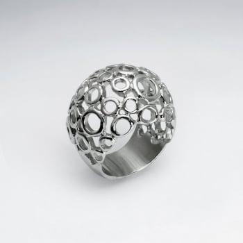 Stainless Steel Openwork Circles Design Ring