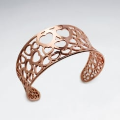 Stainless Steel Openwork Dainty Hearts Cuff Bangle