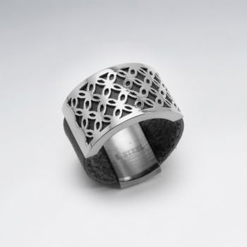 Stainless Steel Openwork Design Leather Ring