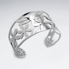 Stainless Steel Openwork Dragonfly Floral Bangle Bracelet