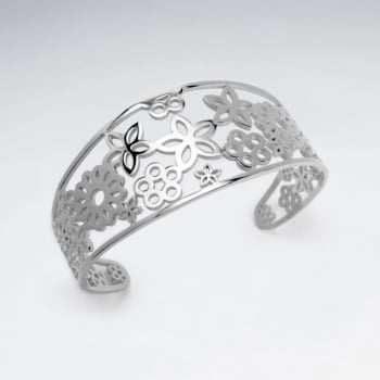 Stainless Steel Openwork Flower Burst Bangle Bracelet