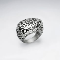 Stainless Steel Openwork Flower Saddle Ring