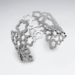 Stainless Steel Openwork Flower Shape Cuff Bangle