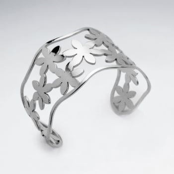 Stainless Steel Openwork Flower Wavy Silhouette Cuff Bangle