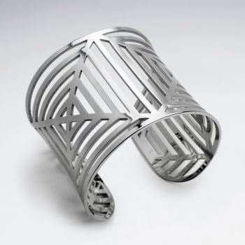 Stainless Steel Openwork Gradual Squared Cuff Bangle