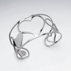 Stainless Steel Openwork Hearts Cuff Bangle