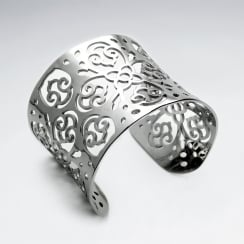 Stainless Steel Openwork Ornate Swirls & Flowers Cuff Bangle