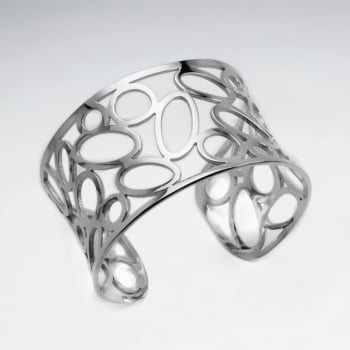 Stainless Steel Openwork Oval Cuff Bangle
