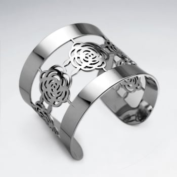 Stainless Steel Openwork Roses Cuff Bangle