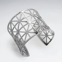 Stainless Steel Openwork Square Burst Cuff Bangle