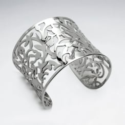 Stainless Steel Openwork Vine Cuff Bangle