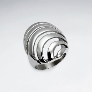 Stainless Steel Openwork Wave Fashion Ring