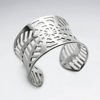 Stainless Steel Openwork Webbed Cuff Bangle