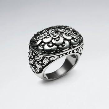 Stainless Steel Ornate Vine & Floral Texture Ring