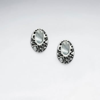 Stainless Steel Oval Imitation Shell Stud Earring