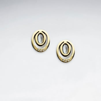 Stainless Steel Oval Imitation Shell With Crystal Stud Earring