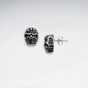 Stainless Steel Oxidized Angry Skull Stud Earrings