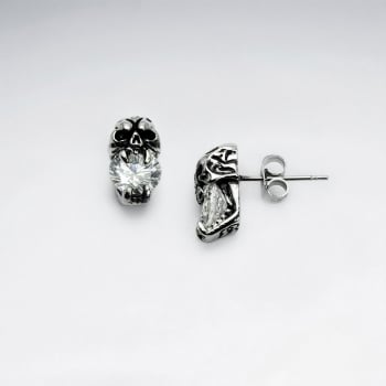 Stainless Steel Oxidized Cursed Skull Crystal Earrings