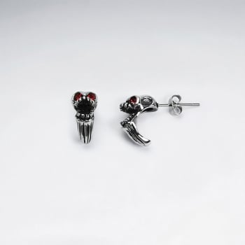 Stainless Steel Oxidized Demon Skull Crystal Earrings