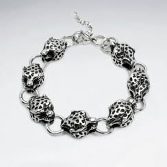 Stainless Steel Oxidized Leopard Head Link Bracelet