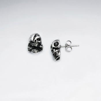 Stainless Steel Oxidized Pirate Skull Stud Earrings