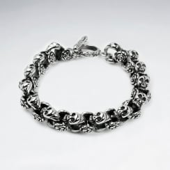 Stainless Steel Oxidized Skull Head Link Bracelet