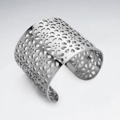 Stainless Steel Perforated Flowers Wide Cuff Bangle